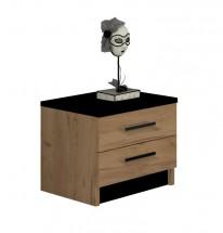 Nočný stolík Tofta (dub craft, čierna)