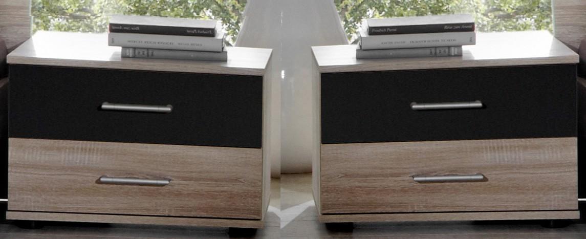 Nočný stolík Vicenza - nočný stolík 2x (dub/lava čierna)