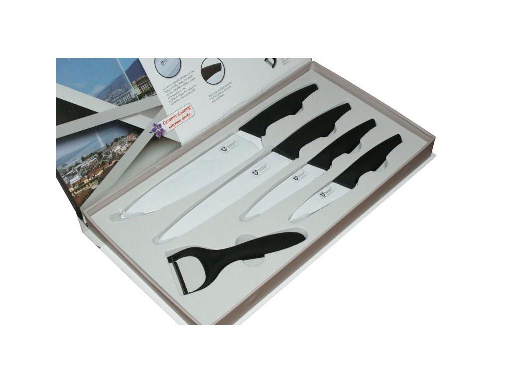 Nože Sada nožov s keramickým povrchom + stojan RL-CW5STR, farba čierna