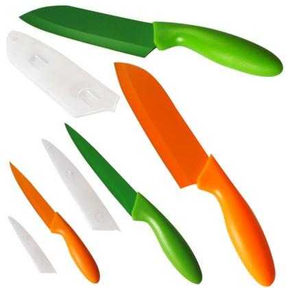 Nože  Set nožů 263347, 3ks,oranžová + zelená