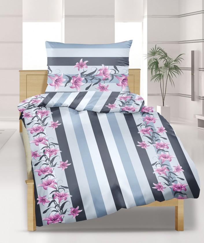 Obliečka krep 140x220 (šedo-růžová lilie)