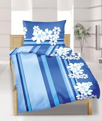 Obliečky bavlna 90/508, 140x220, 70x90 (modrý kvet)