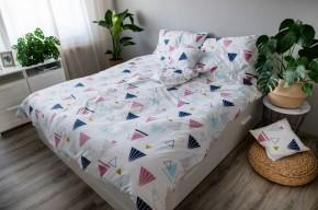 Obliečky Geometry (modrá, biela, ružová)