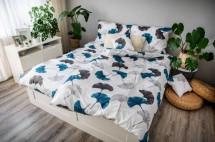 Obliečky Ginko (biela, modrá, sivá)