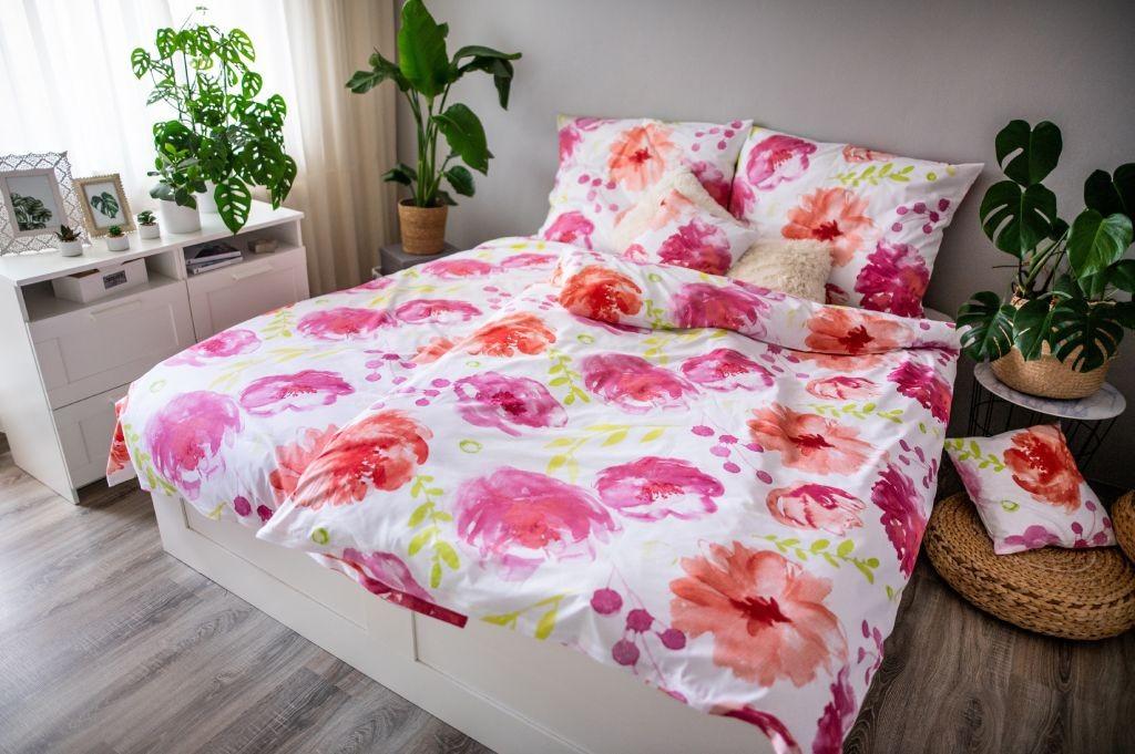 Obliečky Obliečky Flores pink (ružová, biela)