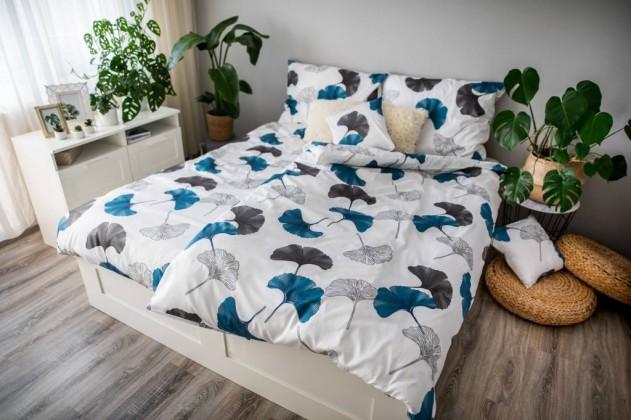 Obliečky Obliečky Ginko (biela, modrá, sivá)