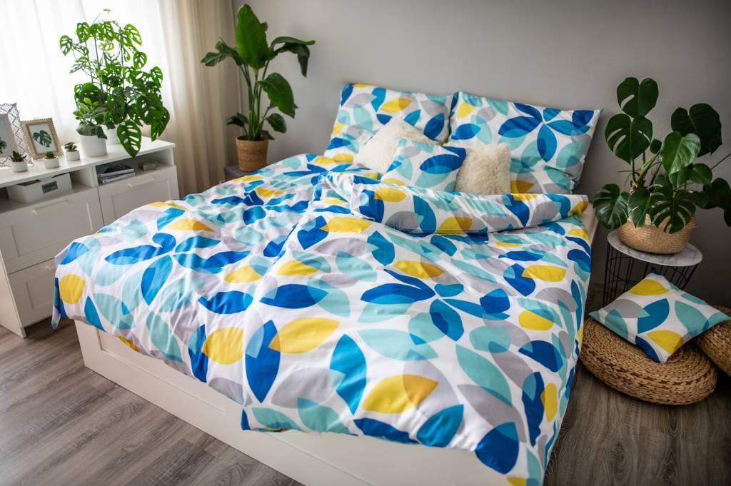 Obliečky Obliečky Spring (modrá, žltá, biela)
