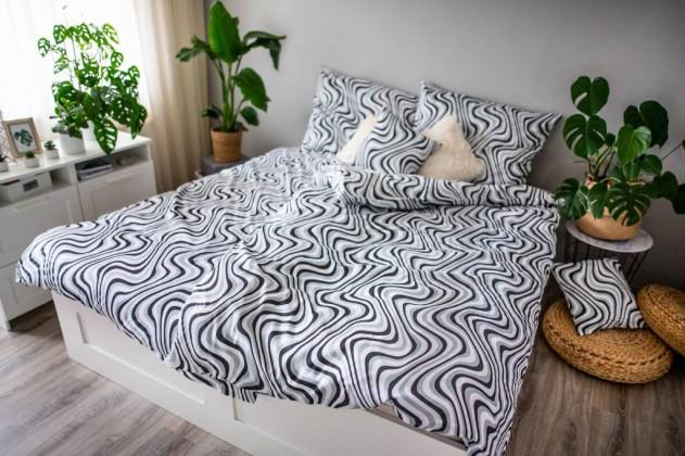 Obliečky Obliečky Waves (čierna, biela)