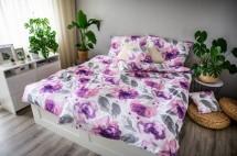 Obliečky Peony (biela, fialová, sivá)