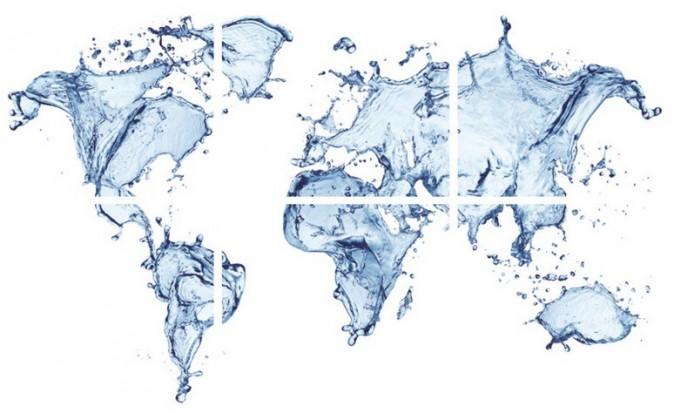 Obraz, sada 6ks (modrá mapa sveta, voda)