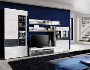 Obývací stěna Cortino biela, dub čierny - II. akosť