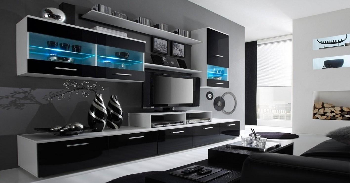 Obývacia stena Alfa - obývacia stena (biela/čierna)