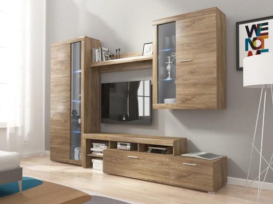 Obývacia stena Alvaro - Obývacia stena, 2x vitrína, RTV komoda (stirling)