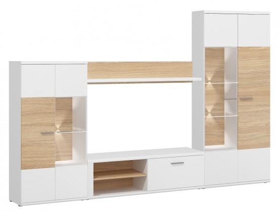 Obývacia stena Amber - Obývacia stena (biela/dub jantárový)