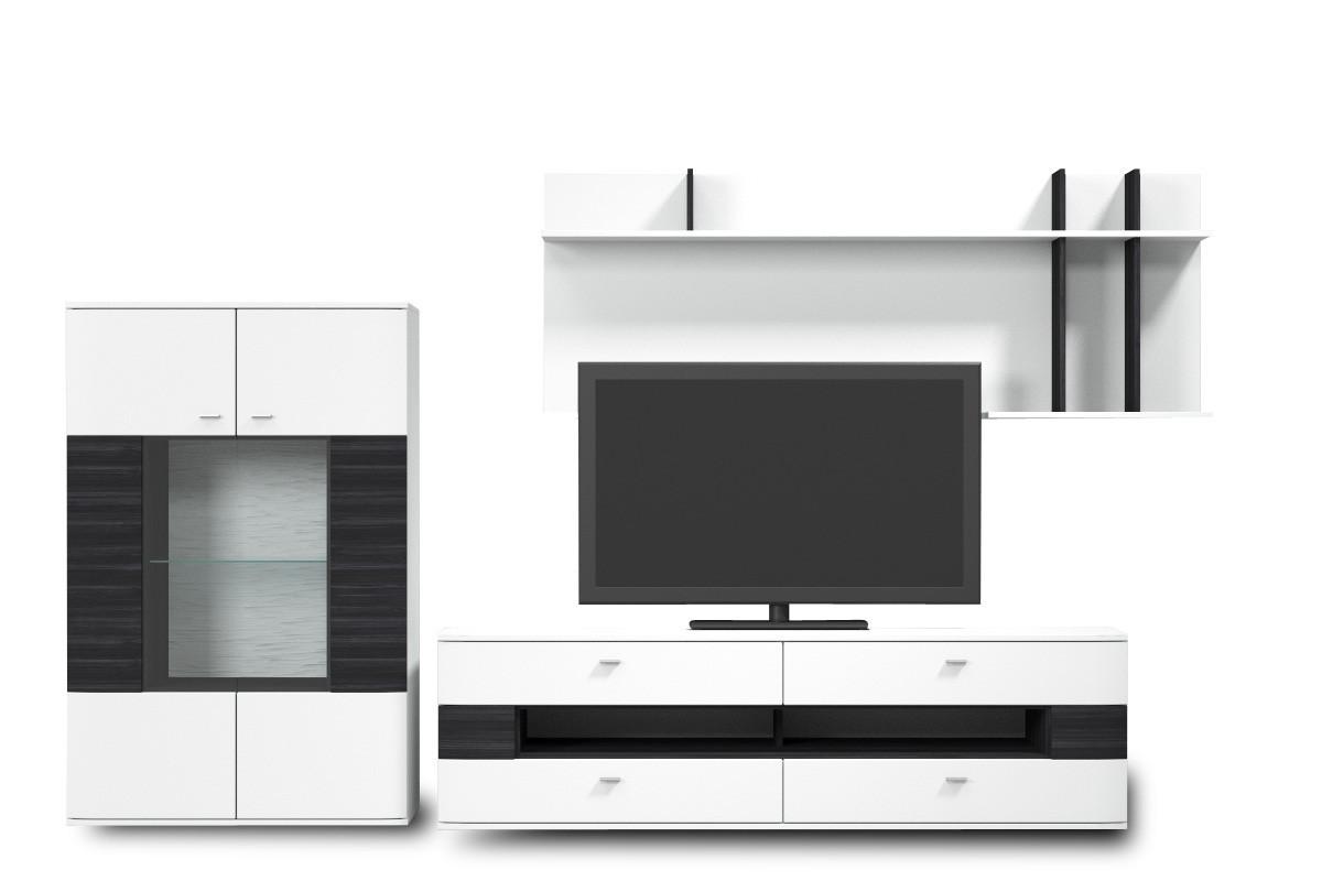 Obývacia stena Denver - Kombi 06 (bílá arctic LDTD / černá strukturovaná)