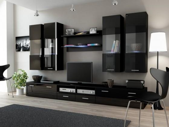 Obývacia stena Dream 1 (čierna matná / lesklá čierna)