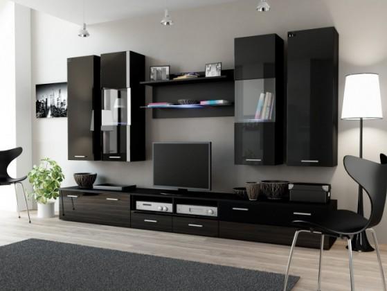 Obývacia stena Dream 2 (čierna matná / lesklá čierna)