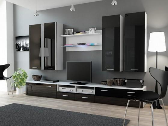 Obývacia stena Dream 3 (biela matná / lesklá čierna)