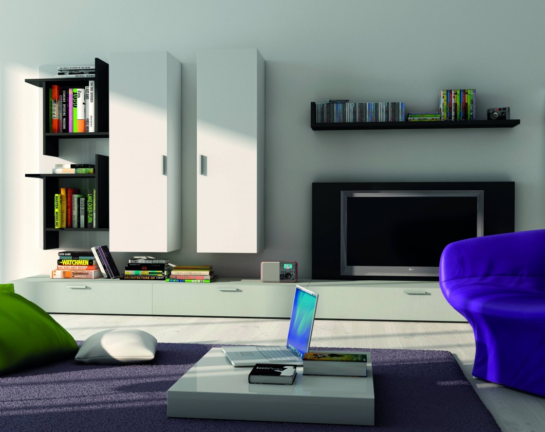 Obývacia stena Fizzy 13 (lak mat biela/lesk biela/mat čierna/lesk čierna)