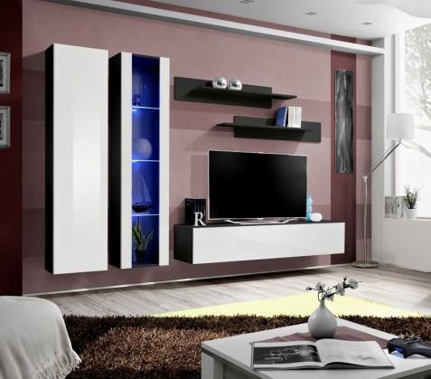 Obývacia stena Fly A4 Stena,vitrína,skriňa,polica,RTV (čierny mat/biely lesk)