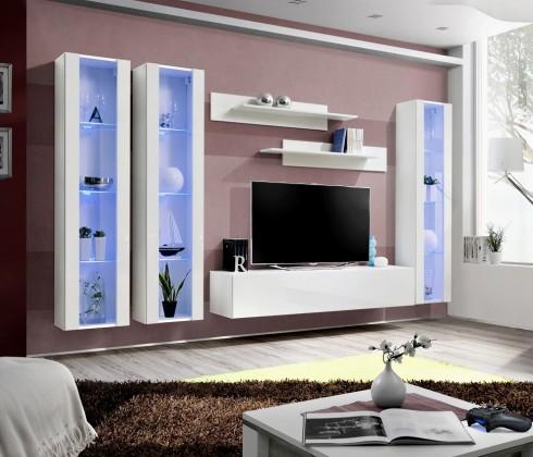 Obývacia stena Fly C2 Stena,3x vitrína,2x polica,RTV (biely mat/biely lesk)