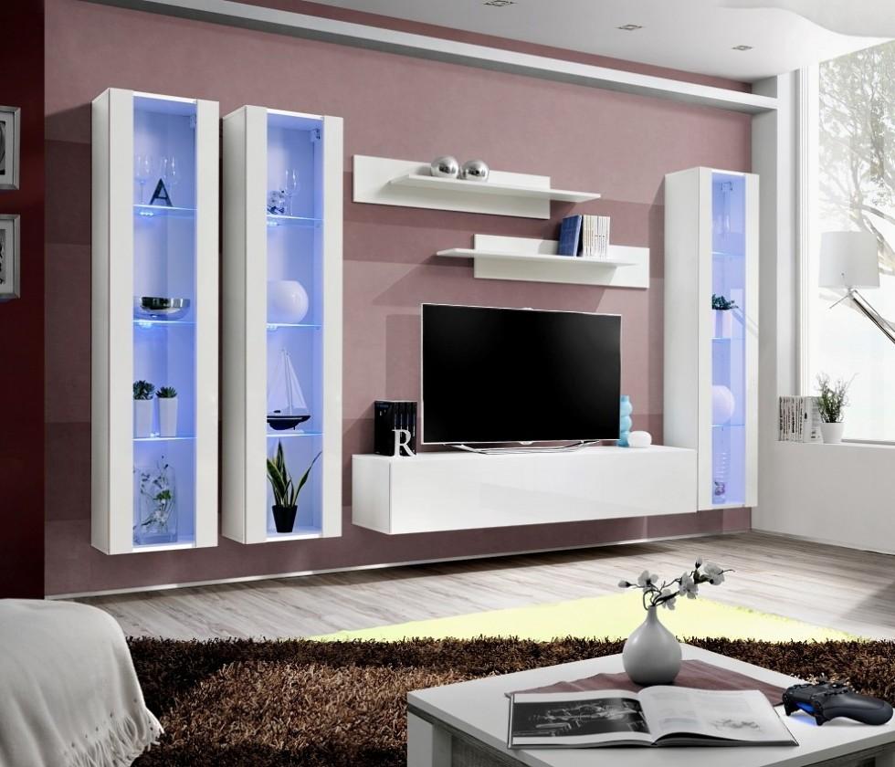 Obývacia stena Fly C2 Stena, 3x vitrína, 2x polica, RTV