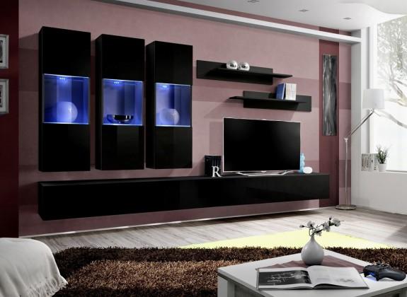 Obývacia stena Fly E2 Stena,3x vitrína, 2x polica, RTV (čierny mat/čierny lesk)