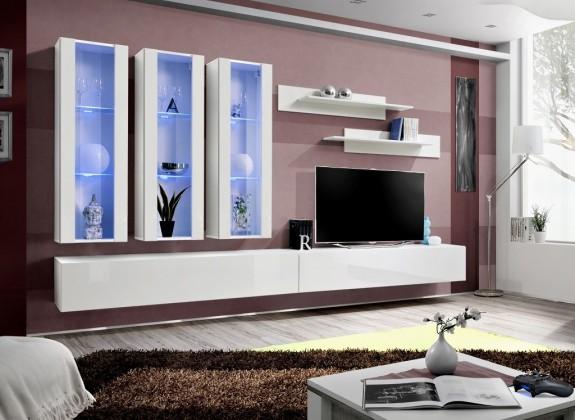 Obývacia stena Fly E3 Stena, 3x vitrína, 2x polica, RTV (biely mat/biely lesk)