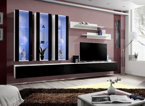 Obývacia stena Fly E3 Stena, 3x vitrína, 2x polica, RTV (biely mat/čierny lesk)