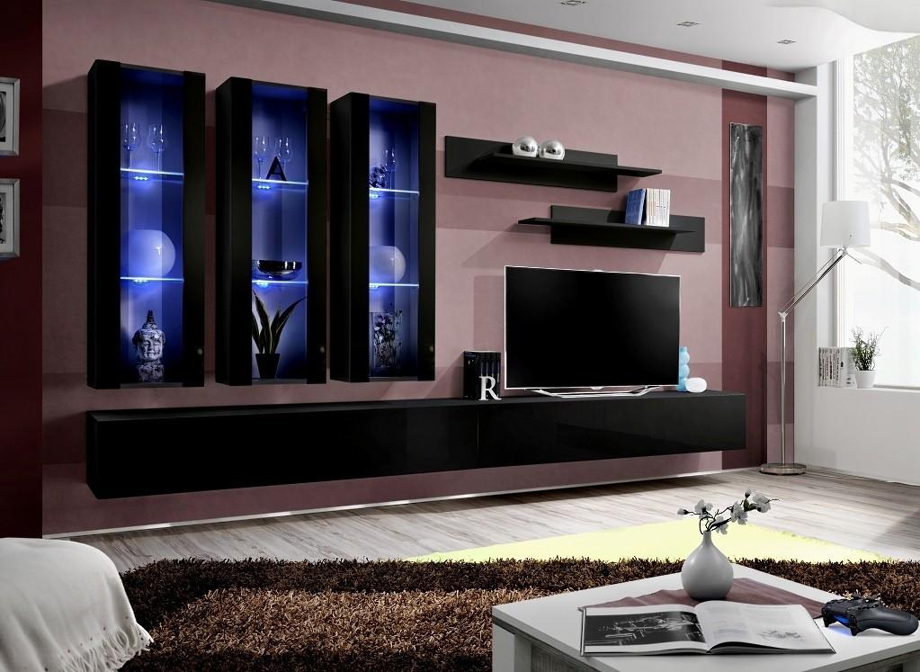 Obývacia stena Fly E3 Stena,3x vitrína, 2x polica, RTV (čierny mat/čierny lesk)