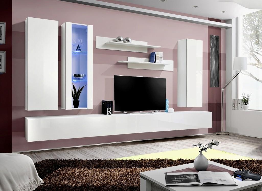 Obývacia stena Fly E4 Stena,vitrína,2xskriňa,2xpolica (biely mat/biely lesk)