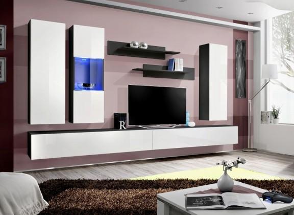 Obývacia stena Fly E5 Stena,vitrína,2xskriňa,2xpolica (čierny mat/biely lesk)