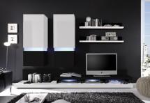 Obývacia stena Frisco (biela/čierna VL) - II. akosť