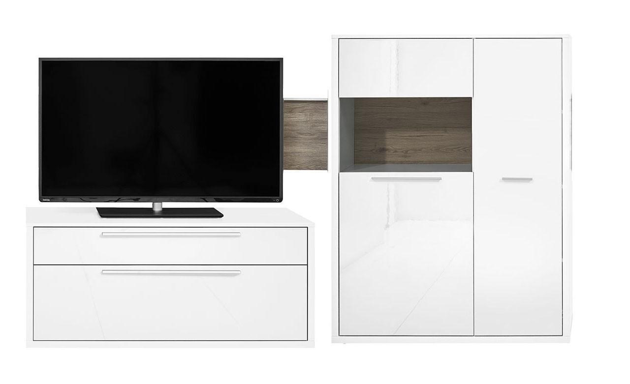 Obývacia stena Gamble - Obývacia stena 570703L (biela/biela lesk/panel dub tm)