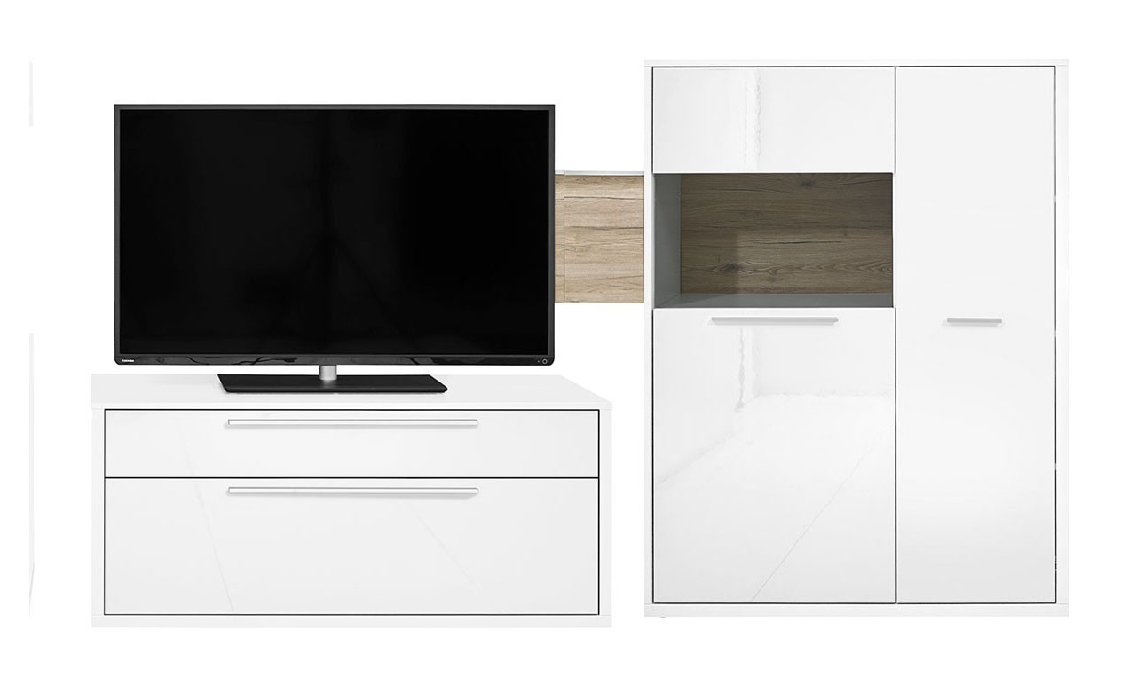 Obývacia stena Gamble - Obývacia stena 570704L (biela/biela lesk/panel dub san)
