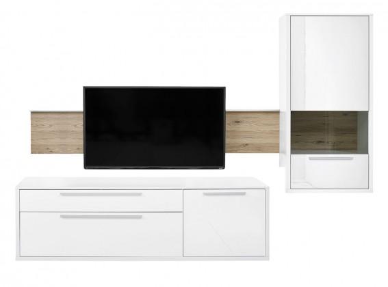 Obývacia stena Gamble - Obývacia stena 570706R (biela/biela lesk/panel dub san)