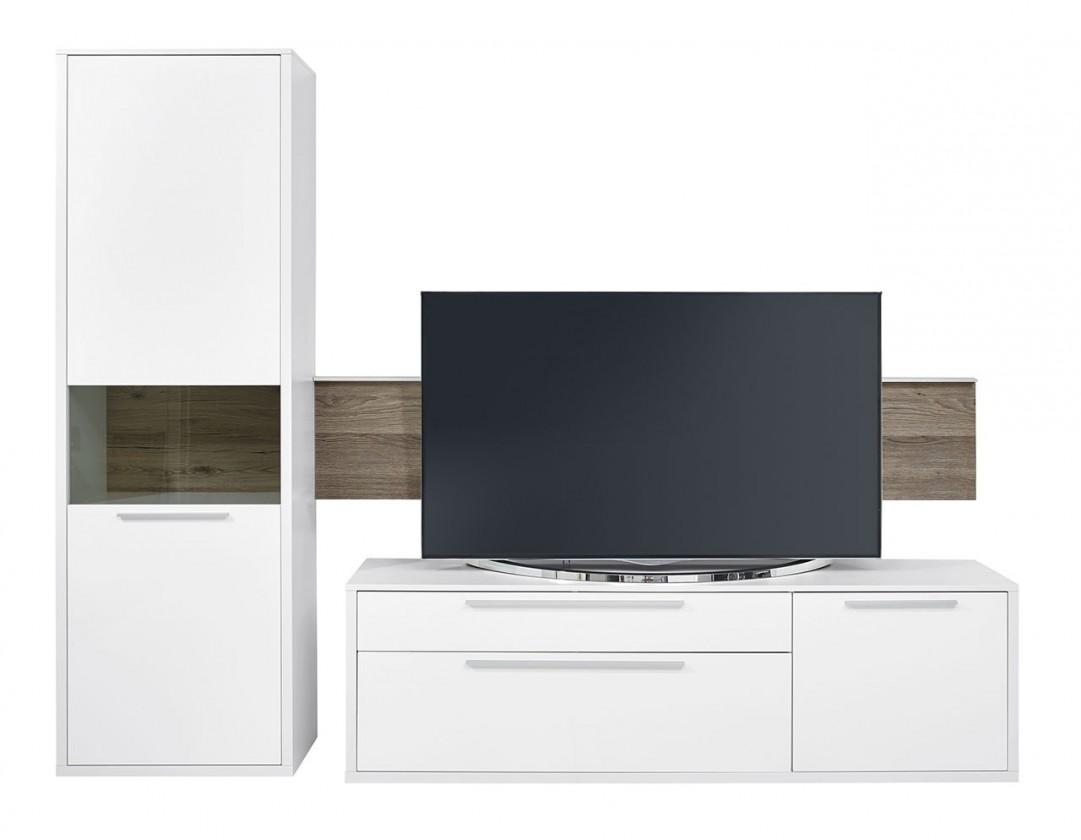 Obývacia stena Gamble - Obývacia stena 570707L (biela/biela lesk/panel dub tm)