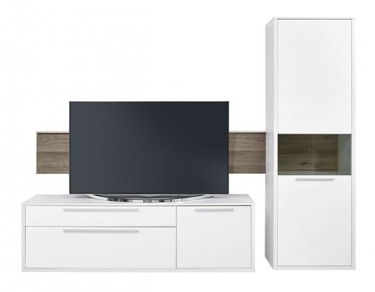 Obývacia stena Gamble - Obývacia stena 570707R (biela/biela lesk/panel dub tm)