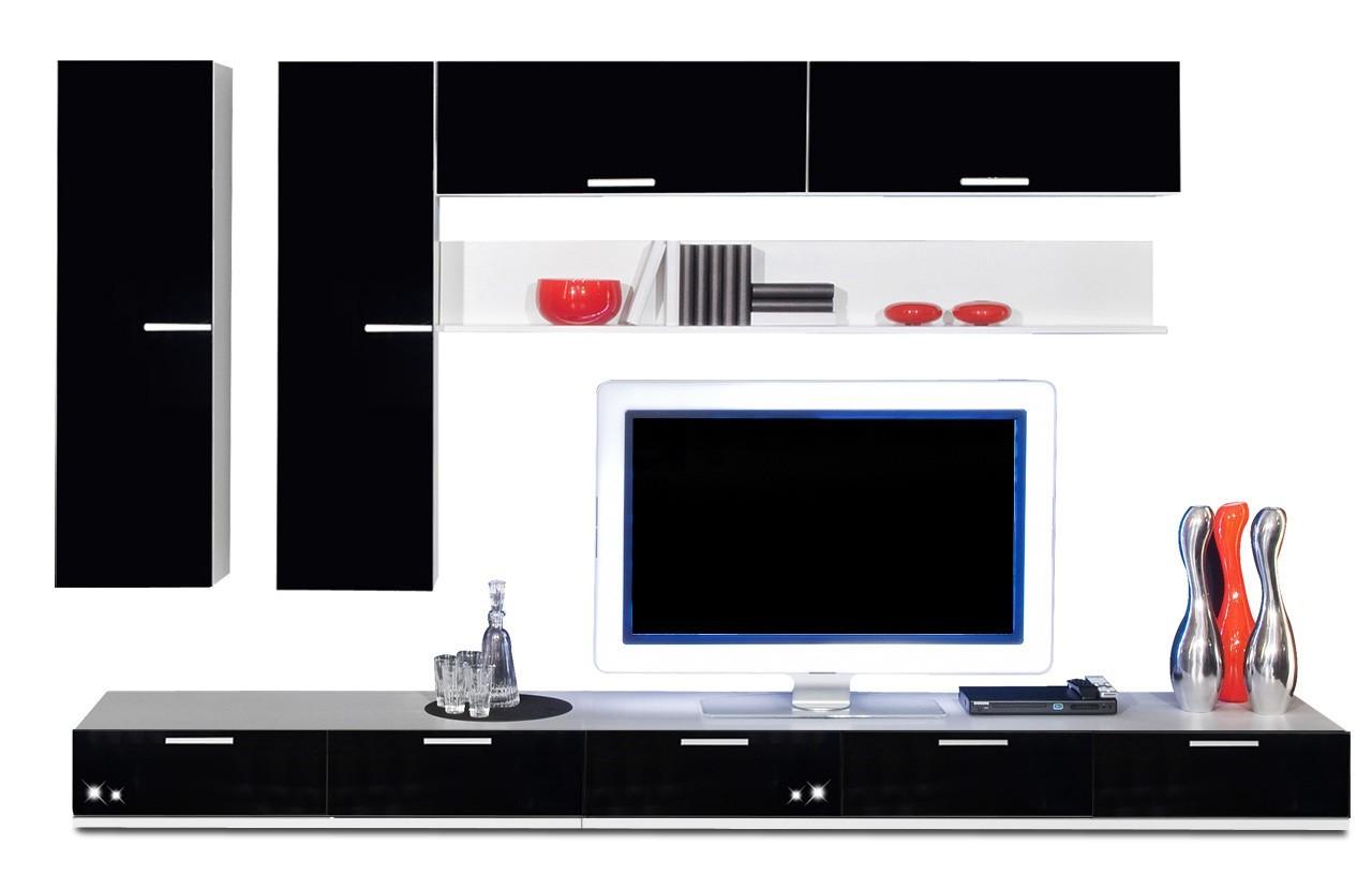 Obývacia stena Game - obývacia stena 3473169 (biela/čierna)