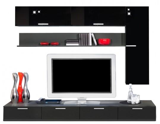 Obývacia stena Game - obývacia stena 349275 (čierna/čierna)