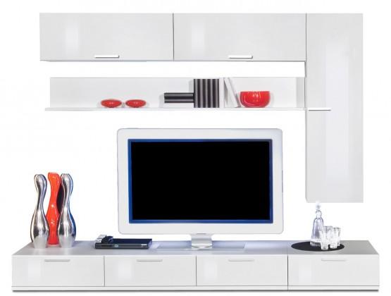 Obývacia stena Game plus - obývacia stena 3472757 (biela/biela lak HG)