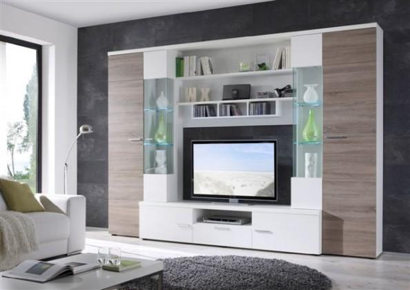 Obývacia stena Gianii - obývacia stena (biela/dub truffel)