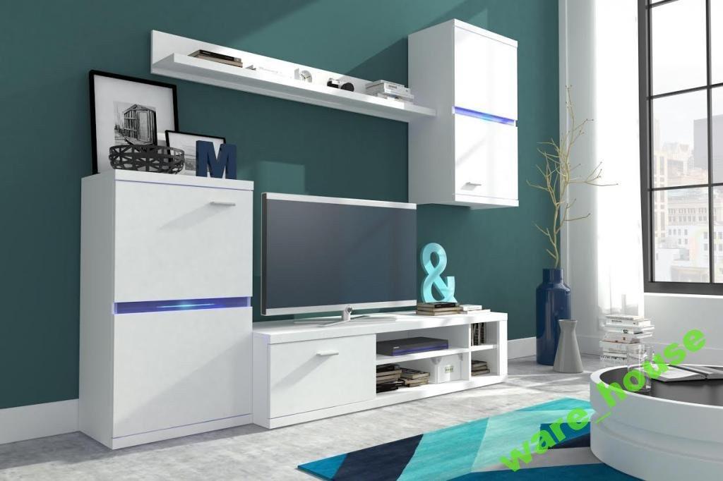 Obývacia stena Intel - Obývacia stena (biela/biela lesk)