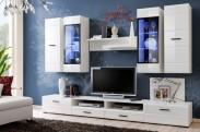 Obývacia stěna Lauren (biely korpus/ biely lesk fronty)