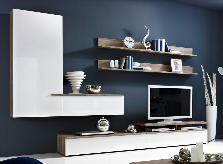 Obývacia stena Linea - obývacia stena 2657457 (dub tmavý/biela lak/dub tmavý)