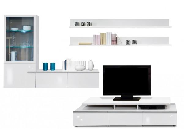 Obývacia stena Linea - obývacia stena 2677408 (biela/biela lak HG/strieborná)