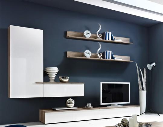 Obývacia stena Linea - Obývacia stena (dub tmavý HN / biela HG / dub tmavý HN)