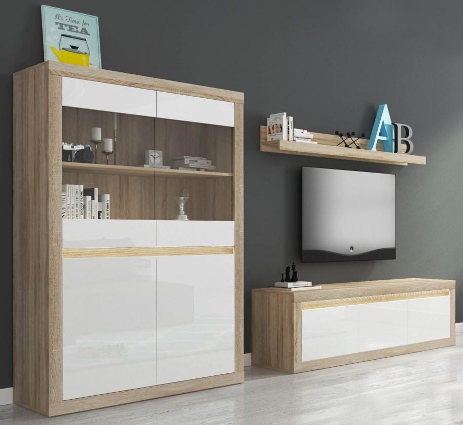 Obývacia stena Lino II - Polica, komoda, vitrína, LED (sonoma/biela lesk)