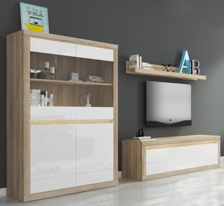 Obývacia stena Lino II - Polica, komoda, vitrína, RGB (sonoma/biela lesk)