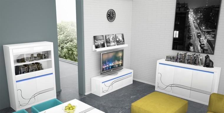 Obývacia stena Lino Obýv. zostava, police, komody, vitrína, osvetlenie (biela)